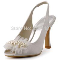 Elegantpark 2015 New HP1419 Ivory Peep Toe Pearls Slingbacks Satin Wedding Bridal Shoes By Free Shipping