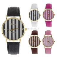 1pc High Quality New 2014 Fashion Women Men Classic Geneva Stripes Print Leatheroid Analog Quartz Wrist Watch,digital watch