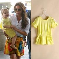 Clearance!  Girls dresses 100% cotton casual dress kids yellow o-neck summer dress children clothing