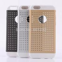"New Wholesale PC+Metal Unique Design roundness Ventilate Cover Pierced Hollow Phone Case for iPhone 6 4.7"""