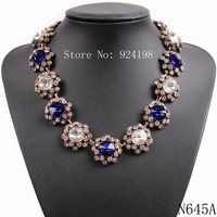 2015 New J design brand bib collar trendy fashion crystal necklaces & pendants for women choker chunky statement Necklace