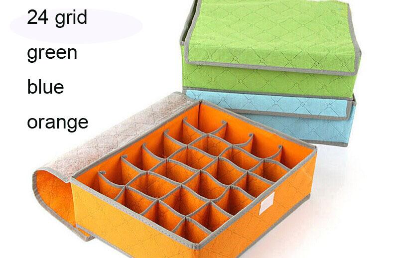 24 Grid Folding Ikea Box To Storage Glossy Organizador De Escritorio Container Bamboo Charcoal Caixa De Armazenamento Sewing Box(China (Mainland))