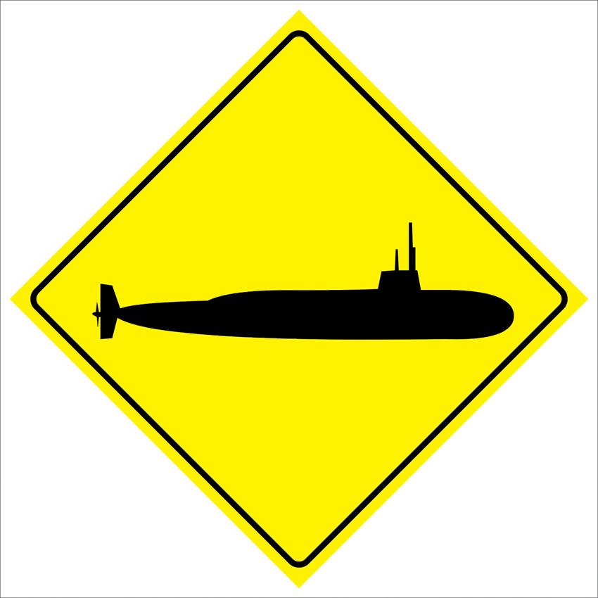 "PAS174 Submarine Crossing Road Traffic Safety Parking Warning Metal Sign 12""x12"" + Free Ship(China (Mainland))"