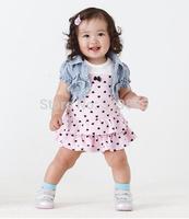 2 pcs/set 2015 summer new style Kids Clothing sets Girls denim jacket + pink dot dress for 1-2 years baby girls free shipping
