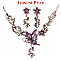 Fashion Jewelry Sets Butterfly Purple Butterfly Flowers Statement Necklace/ Earrings Vintage Women Party Accessories 2015