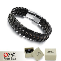 OPK Brand Magnet Man Bracelets Fashion New 2015 Genuine Leather Weaved Double Layer Rope Chain Steel Vintage Jewelry For Men