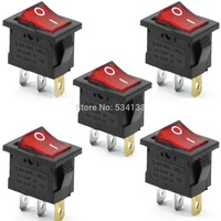A3A710PCS Free shipping  Red Neon Light Lamp On Off DPST Rocker Switch 3 Pin 10A/250V 20A/250V  AC new high quality T1407 P