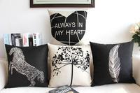 Black Horse Heart  Feather Linen Cotton Pillow Cover/ Cushion cover/Pillow /Cushion/Decorative pillow case 45X45CM sofa cushion