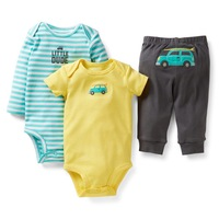 Carters Baby Boys Clothings Sets, Green Car Cotton Sets,Carters Baby Models (Bodysuits+Pants)3pcs Set, Freeshipping,In Store