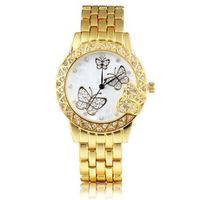 Fashion Women Crystal Butterfly Bling Analog Bracelet Bangle Wrist Watch