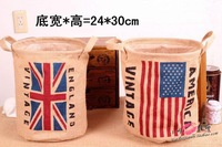 Free shipping US and Union Jack Flag Jute Storage Basket 24X24X30CM linen storage bag  jute bag Sundry receive basket