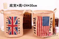 Free shipping US and Union Jack Flag Jute Storage Basket 24X24X30CM linen storage bag  jute bag Sundry receive basket