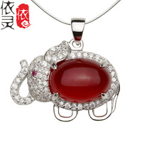 25 Sterling Silver Pendant / silver inlaid chalcedony Elephant Pendant / sterling silver jewelry and a generation of fat