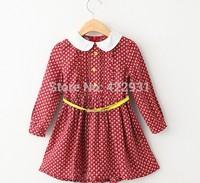 2015 New arrival Knee-length girl dress long sleeve cotton dobby dress for little girls toddler girl dresses with yellow sashes