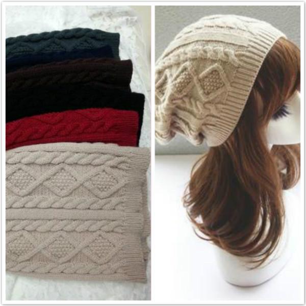 Women New Design Caps Twist Pattern Women Winter Hat Knitted Sweater Fashion Hats(China (Mainland))
