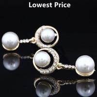 Lowest Price Women Silver Plated Double Pearl Stud Earrings Wedding Accessories Vintage Crystal Earrings