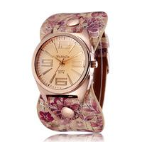 Women Dress Watches Quartz Movement Printing Pu Strap Gold Alloy Case Vintage Fashion Wristwatches 2014 Relogio Feminino 2222