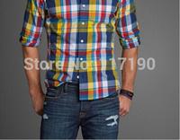 New arrival famous brand men shirts high quality 100% cotton men long sleeve shirts men plaid striped shirts plus size S-XL