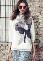 2015 New Women Three Quarter Sleeve Big Flower Print Fashion White Sweatshirt Desigual Lady Casual Sport Suit Woman Tops CT317