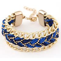 Vintage Jewelry Bracelets & Bangles Gold Plated Braided Rope Charm Bracelet Multi Layer Handmade Pulseiras Femininas Shamballa