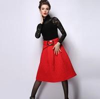 Women Skirt Femininas Plus Size Brand 2015 Spring Women's Formal High Waist Knee-length Vintage Winter Skirts Red/black/green
