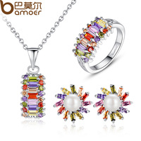 Bamoer Brand Romantic Rhodium Plated Bridal Jewelry Sets with AAA Multicolor CZ Diamond  for Women Anniversary ZH041
