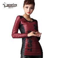 Fashion Spring Autumn 2014 Women T Shirt Filler Coat  Round Collar Full Sleeve Letter Handwork Beading Black Red Top