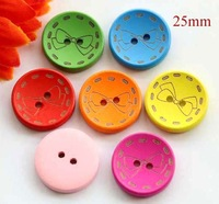 25mm, Color bowknot wooden buttons, 2 holes button for craft, Garment accessories (ss-74-1)