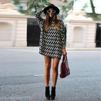2015 New Fashion Women Girls Sexy Chiffon Loose Long Sleeve Evening Short Mini Dress XS-L