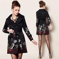 2015 Fashion Women's Luxury & Elegant Double Breasted Rose Jacquard Long Trench Coat Windbreaker Slim Outerwear Plus Size S-4XL