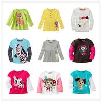 Brand New 100% Cotton Girls tees Tops Children T-shirt Baby Girl Long sleeve t shirts Cartoon Tees free shipping Top quality