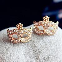 Full Rhinestones Magic Mask Stud Earrings Stylish Earrings 1pcs Free shipping
