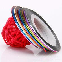 6pcs/lot, Multicolor Nails Striping Tape Line DIY Nail Art Tips tools Decoration Sticker,free shipping(China (Mainland))