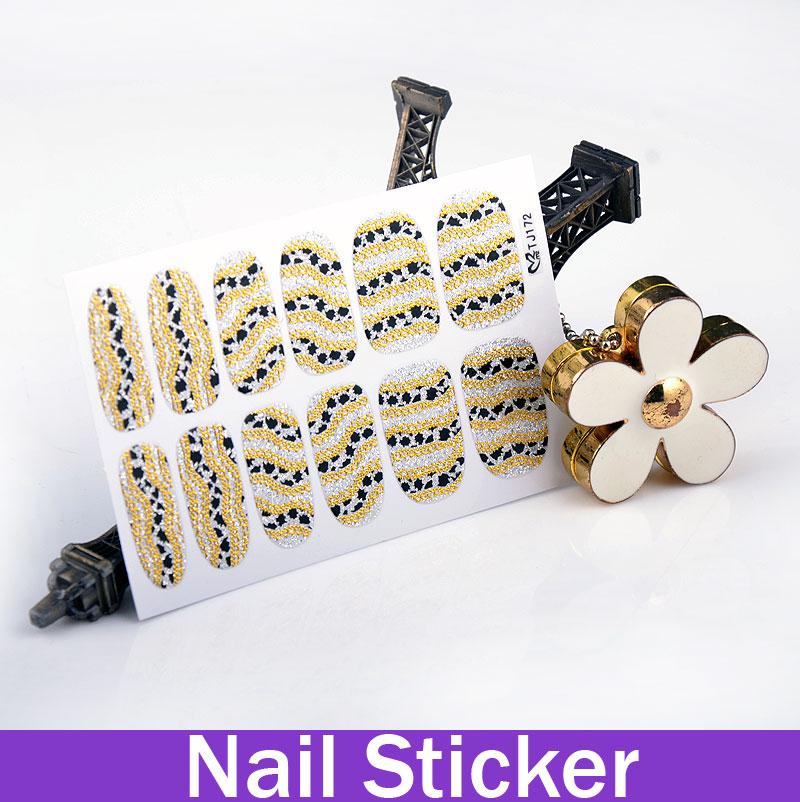 Easy DIY Gold Stamping Lace False Nail Wraps fingernail designs fashion tips women Glowing Cheetahs Print(China (Mainland))