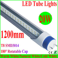 10PCS 20W 25W 1200mm 1.2m 120cm 4ft SMD T8 led tubelamp fluorescent tube,180degree rotatable cap,used for home/office/room