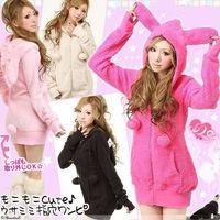 2015 Winter Womens Japanese Cosplay Emo Bunny Rabbit Ear Shirt Tops Jacket Coat Hoodie Outwear Free Shipping