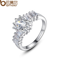 Bamoer Brand Rhodium Plated Finger Ring AAA Multicolor Cubic Zircon for Women High Quality Jewelry YIR038