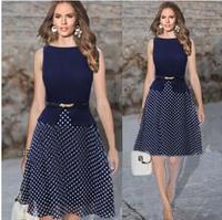 2015 New Summer Party Dresses Dark Blue Garment Women Casual Dress Polka Dot Print Chiffon Vestidos Ladies Elegant Free Belt XXL