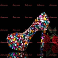 Free Shipping Sexy Handmade Women Sexy Shoes High Heel Party Shoes Pumps Appliques Spring/Autumn Wedges Leather Party Shoes