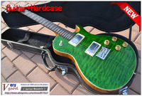 New! custom Grass Green Tiger maple top, mosaic bird products, electric guitar With hard case free shipping
