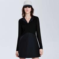 2015 Spring Chiffon Dresses Suit Collar Stitching Slim Simple Dress Long Sleeve Black Dress For Women High Quality Dropship