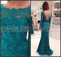 Boat Neck V Back Full Long Sleeves Party Event Dress Long Mermaid Prom Evening Dress Elegant Modest Occasion Dress Vestido 2015