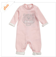 Newest autumn winter branded babi boy's girl's Embroidered tiger print sweatshirt romper long sleeved babygrow infant one piece