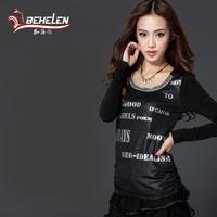 Fashion Women T-Shirt Spring 2015 Round Collar Mesh Long Sleeve Diamond Letter Print Black Tops Plus Size XXL