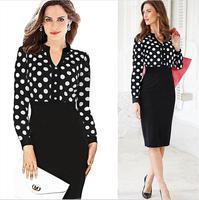 2015 New Arrival Knee-length Polka Dot Print Winter Dresses Women Elegant Office Work Dresses Casual Bodycon Bandage Dress Black