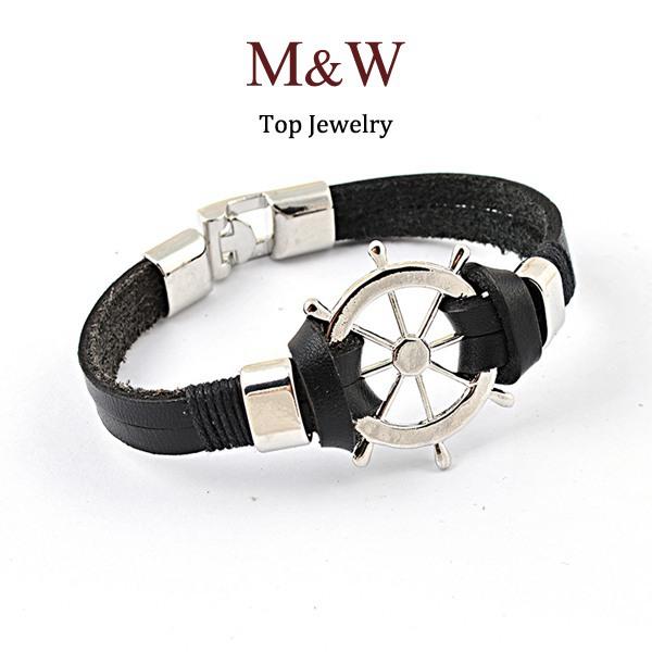 Fashion Men s Jewelry Titanium Steel Rudder Charm Genuine Leather Bracelet for Man