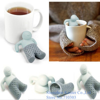2015 Crazy Hot Mr.Tea Leaf Tea Strainer Filter Silicon Herbal Spice Infuser Diffuser Cute, 1pcs free shipping
