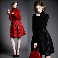 Women's Dresses Wholesale Winter New Long Sleeve Turtleneck Knitted Flare Sleeve Paillette Jacquard Patchwork Slim A-Line Dress