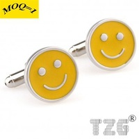 Yellow Smile Cufflink Cuff Link 1 Pair Free Shipping Promotion