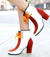 Plug size 41 42 43 chunky mixed color lace-up boots sexy black red pointed toe fashion diamante martin boots free shipping